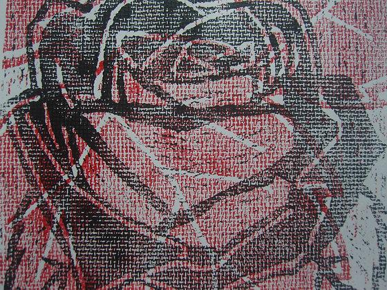 Red, White & Black Rose Print unframed no mount