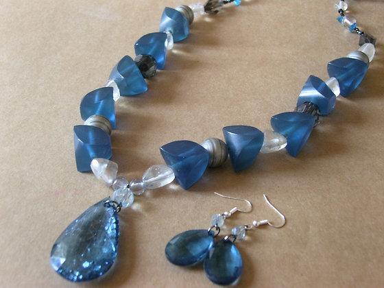 Blue Beaded Necklace & Earrings by Julie Tomkins