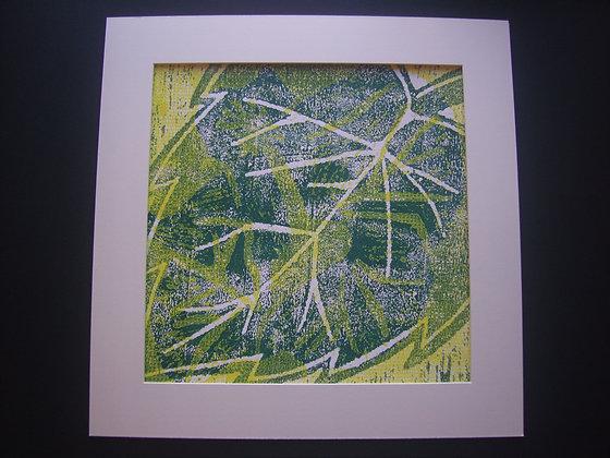 Green, White & Yellow Hibiscus Print mounted