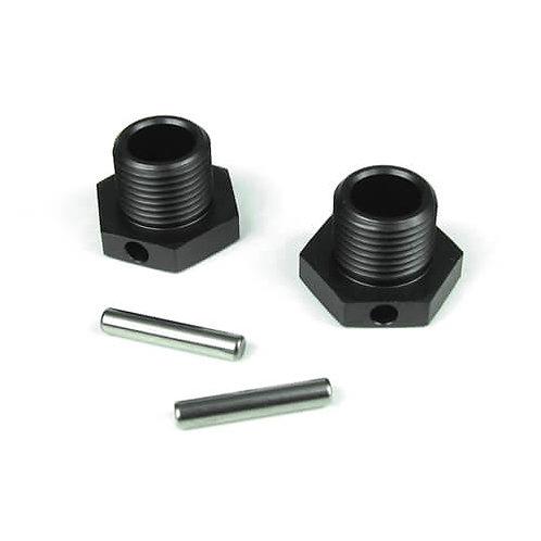 TKR5071 – Wheel Hubs (17mm, aluminum, gun metal anodized, w/pins, 2pcs)