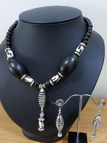 Wood & Bone Bead Necklace and Earrings