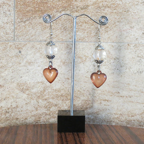 Heart Earrings - Brown