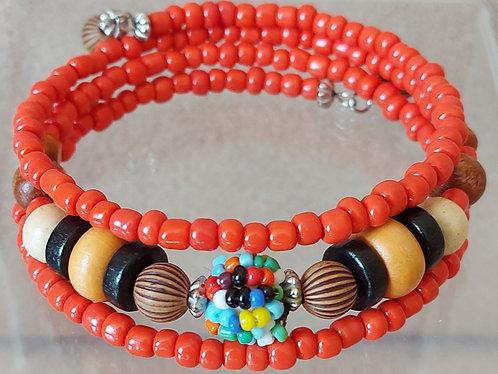Wood & Seed Bead Multicolour Wire Wrap Bracelet