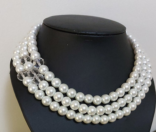 Clear Crystal & White Fashion Pearl Multistrand Necklace