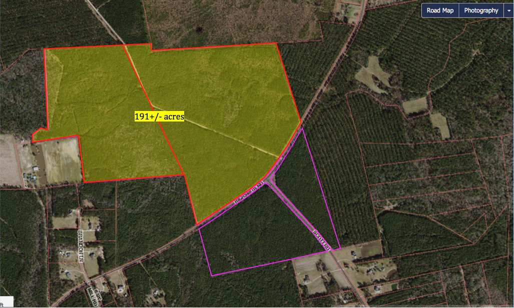 191 acres highlighted