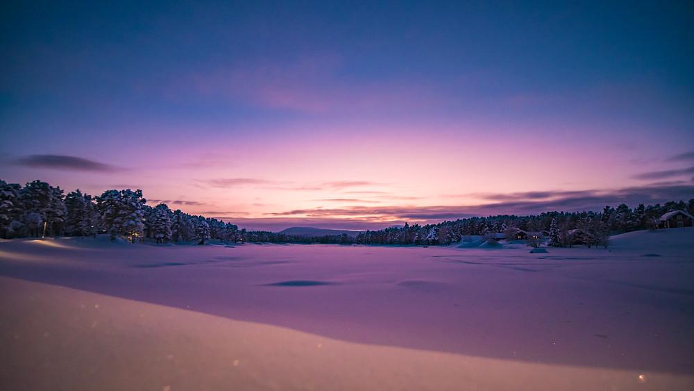 Couché de soleil au Sud de la Laponie