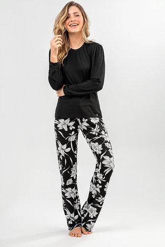 Pijama Longo Modal Gola Franzida -9927