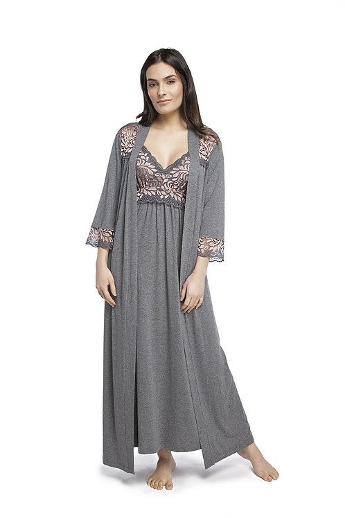 Robe Longo Detalhes em Renda - 153830