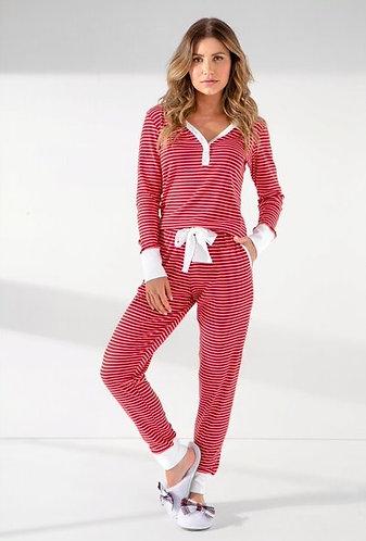 Pijama Longo Punho Canelado - 9935