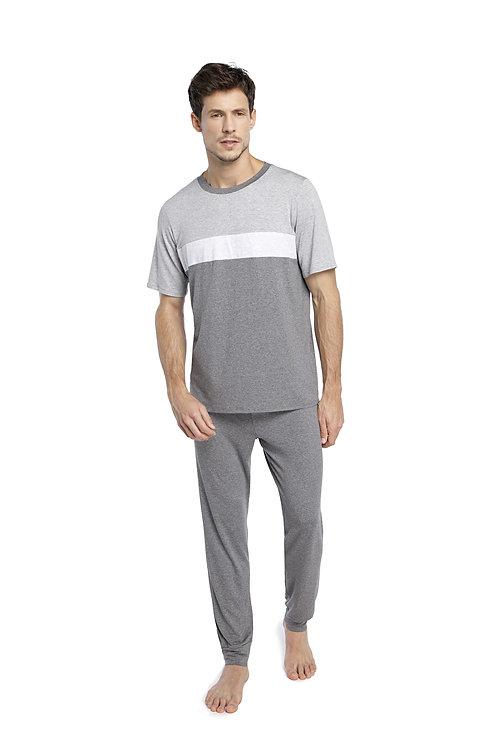 Pijama Longo Manga Curta - 344280