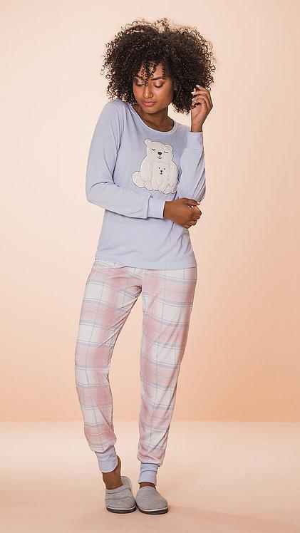 Pijama Malha Aplique Urso - 8598