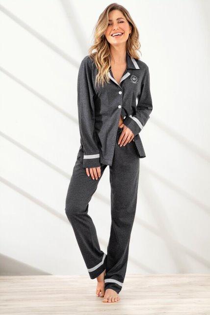 Pijama Longo Aberto com Gola - 9953