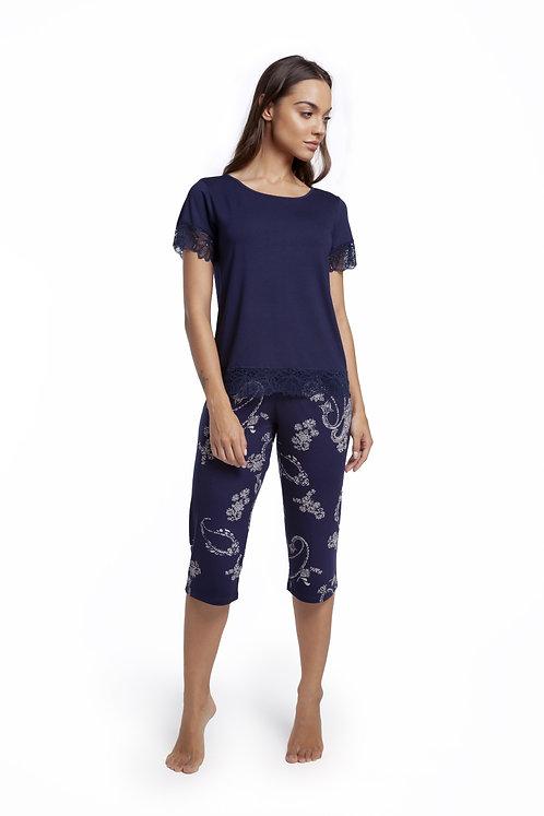 Pijama Capri Barrado Renda - 135490