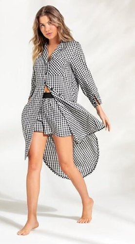 Pijama Curto com Chemise Midi - 9813