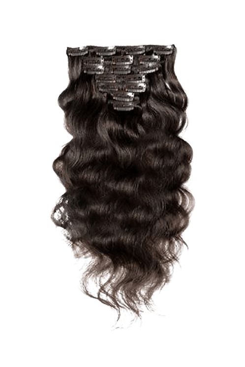 Natural Wave Clip In Hair Extensions | 20 Inch | Natural Black