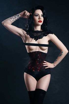 Classic Cincher Black Lace Over Red
