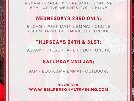 Christmas timetable now live for booking x