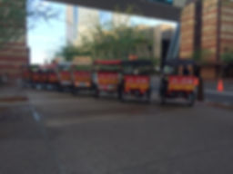 Pedicabs with Dish network rear ad panels
