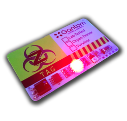 ZTag Badge in red blinking mode