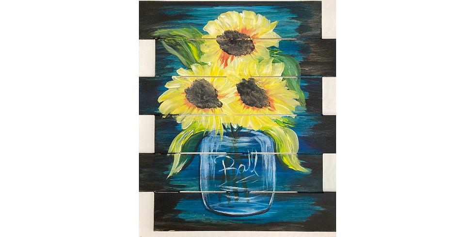 Summer Sunflowers Pallet ~ $10 Bottomless Mimosas!