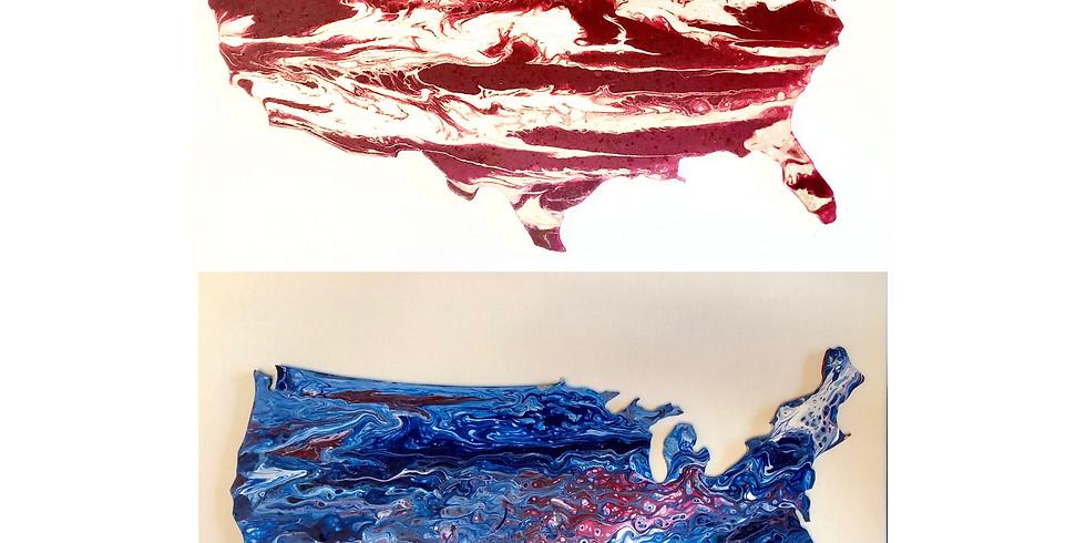 """USA 18"""" Wood Cutout - Pour Paint Workshop"""