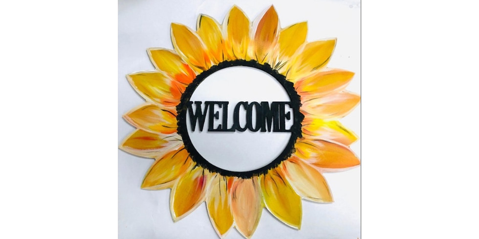 """Welcome Sunflower 18"""" Wood Cut Out ~ $10 Bottomless Mimosas"""