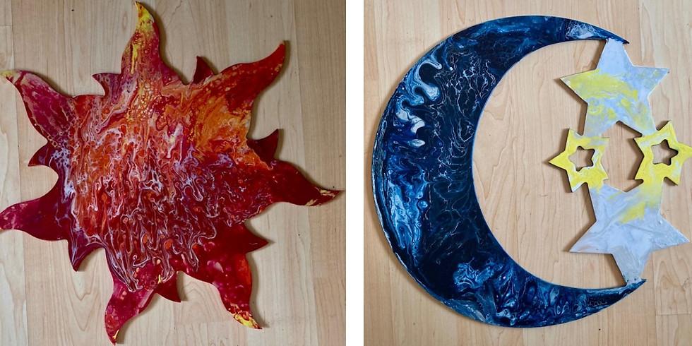 Sun & Moon Pour Paint Workshop ~ $3 Sangrias