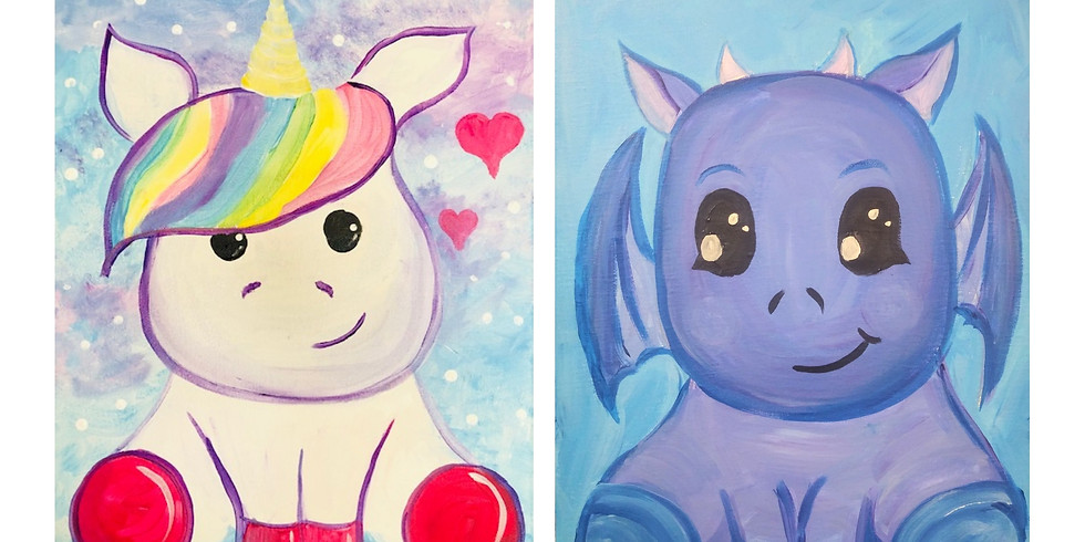 Cute Unicorn or Dragon ~ Cookies & Canvas - Muskegon