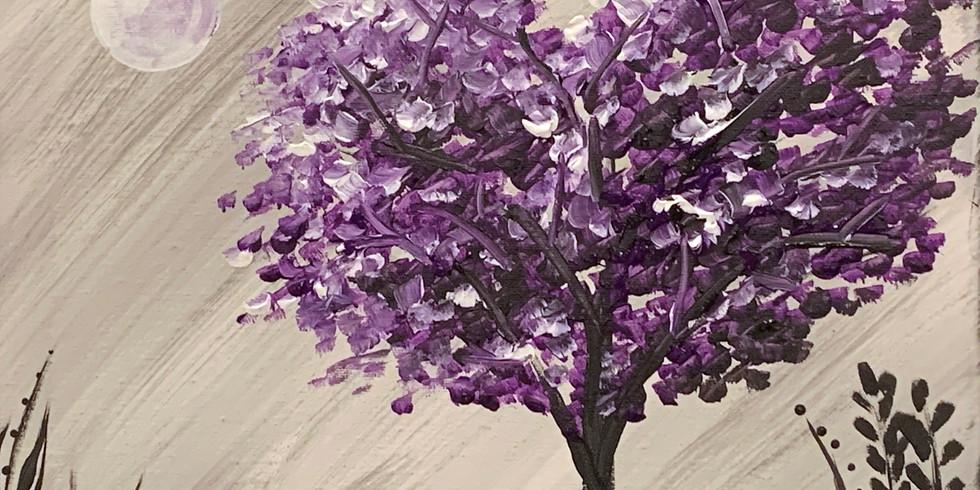 Purple Tree ~ Cookies & Canvas - Battle Creek