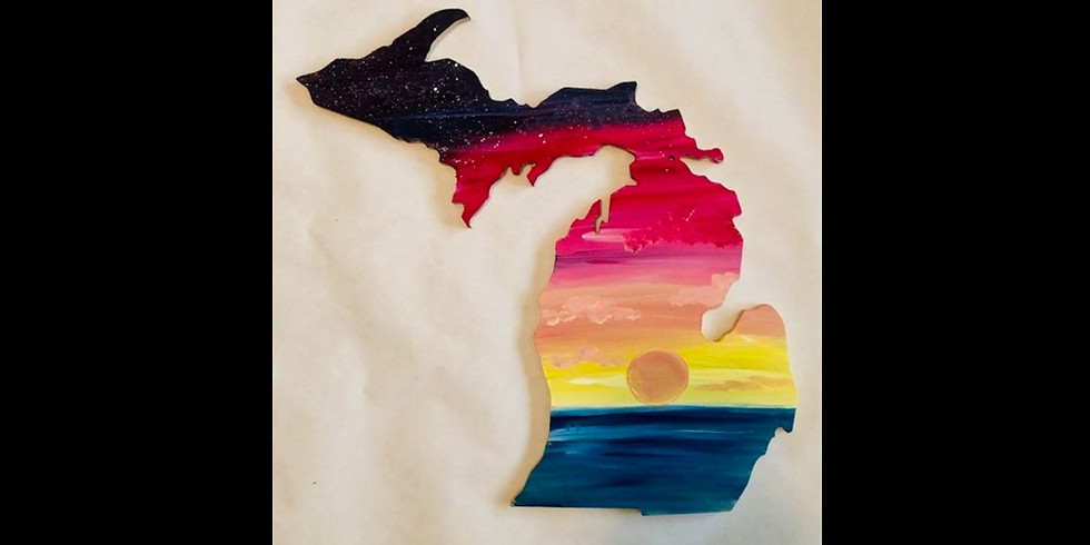 "Sunset Lake - 18"" Michigan Wood Cut Out - Cedar Springs"