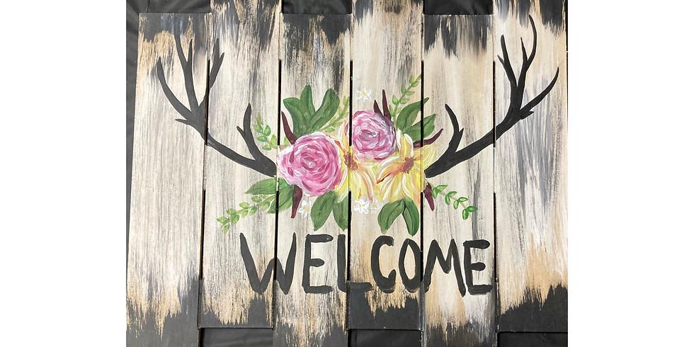 Floral Antlers Pallet - Deer Widows Weekend - Ironwood Bar