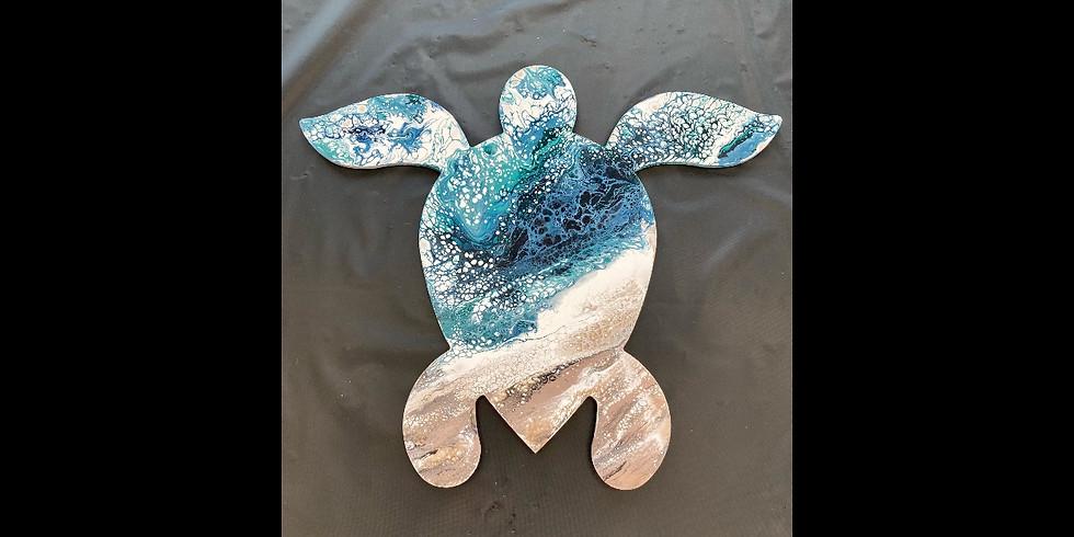 """Pour Paint Workshop 18"""" Sea Turtle -"""