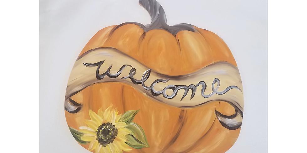 """Welcome Pumpkin 18"""" Wood Door Hanger ~ $3 Sangrias"""