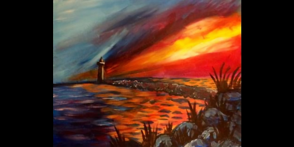 Lighthouse at Sunset - 1/2 off bottles of wine!