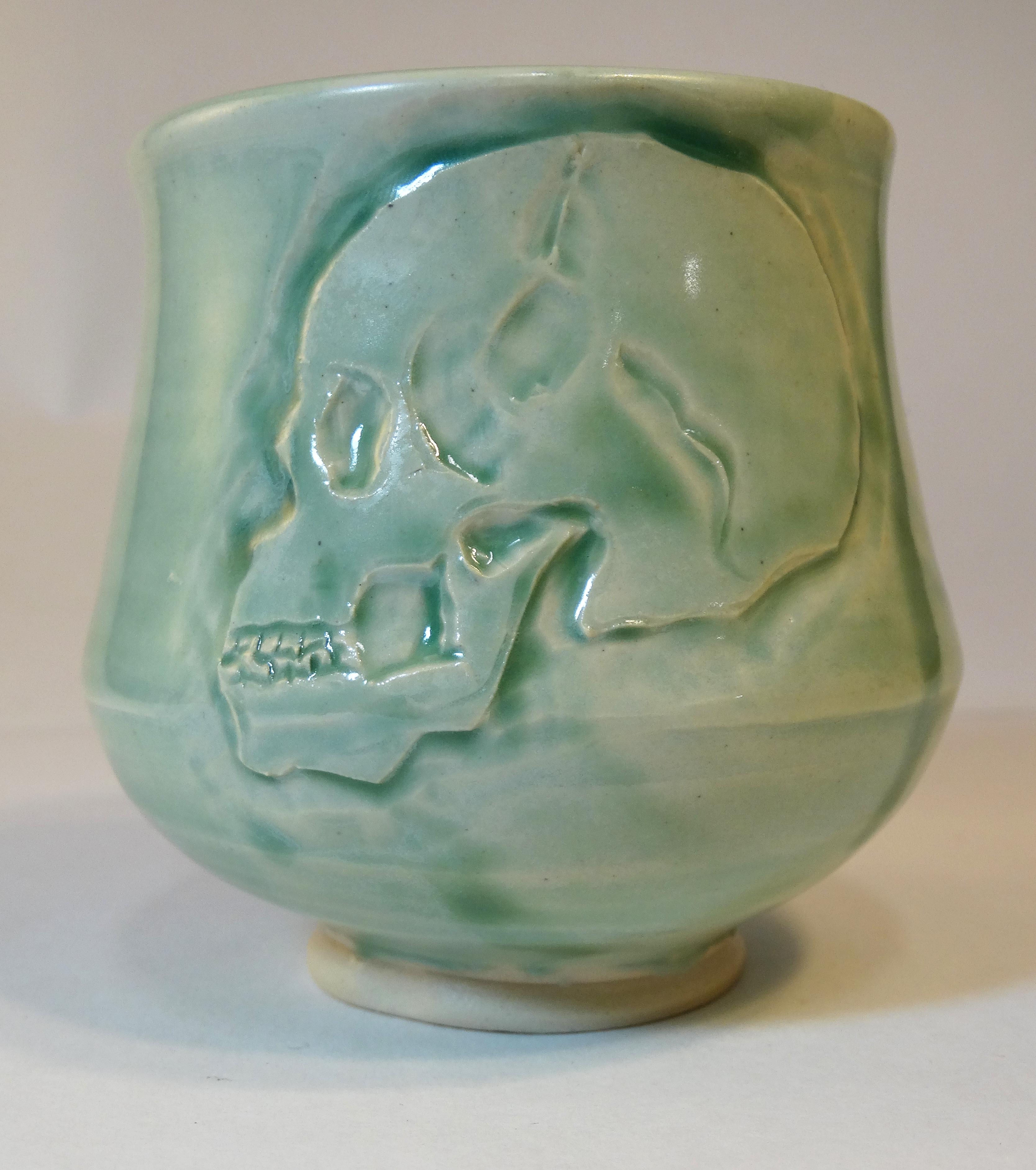 Skull Celadon Yunomi