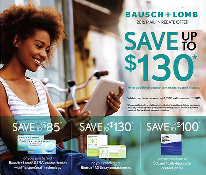 Bausch and Lomb Ultra contact lens rebates