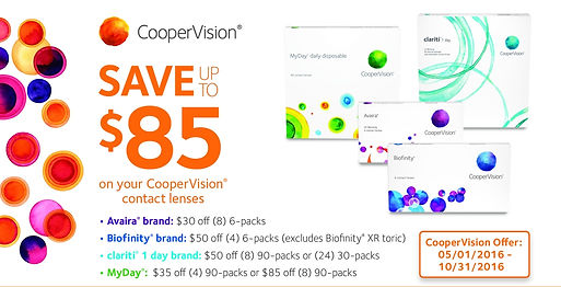 CooperVision contact lens rebates