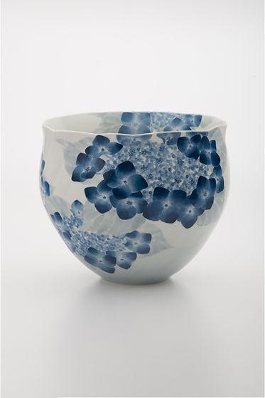 染付額紫陽花紋鉢