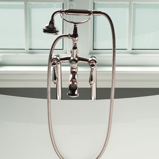 Plumbing in a free standing bathtub and floor faucet