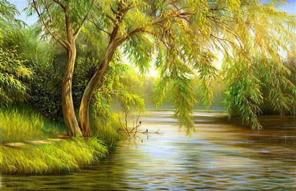Artes visuais 063-Pintura de rio com árvore