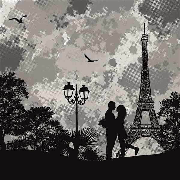 Artes visuais 077-Vetor romântico em Par