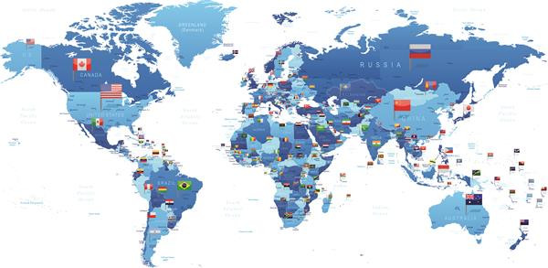 Mapa 004-Mapa mundi com bandeiras