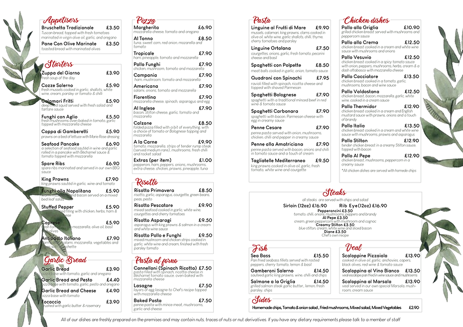 Little Italy menu