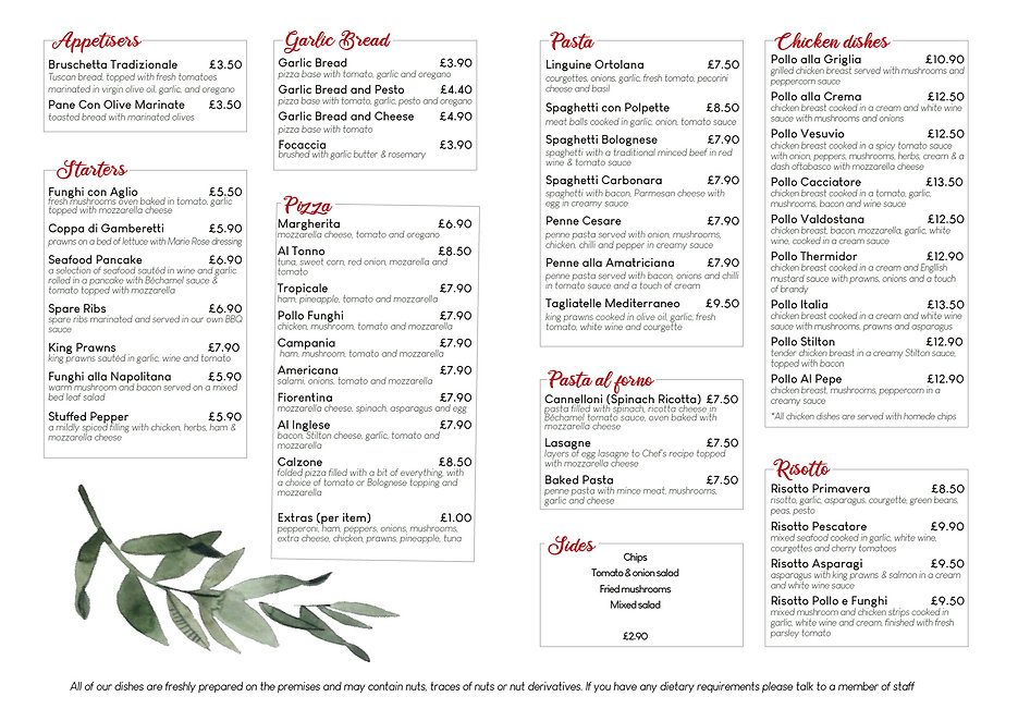 little italy take away menu