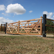 6 Bar Diamond braced gates on Steel posts.
