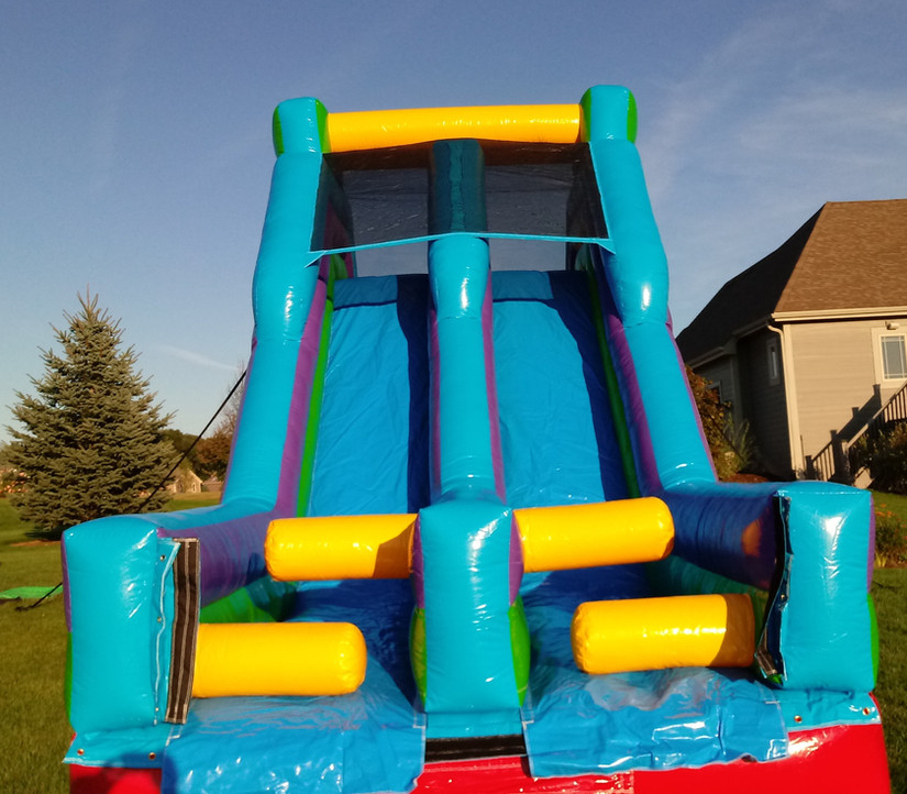 17' Tall Dual Dry Slide Front View