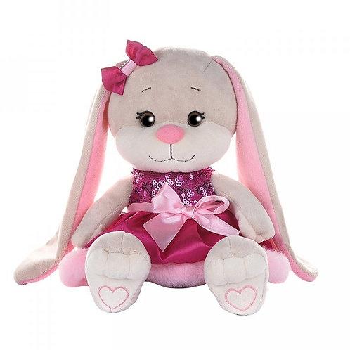 Зайка ЖакЛин в Розовом Платьице с Пайетками, 20 см