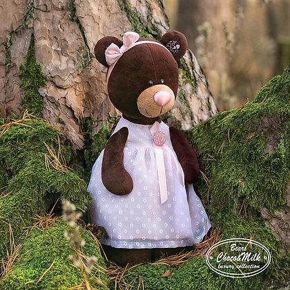 Мишка Milk стоячая в платье с брошью, 35 см