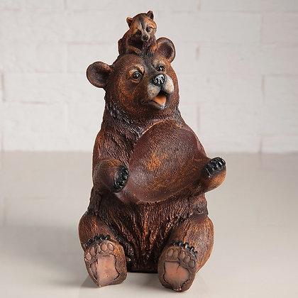 """Подставка для бутылки """"Медведь с енотом"""""""
