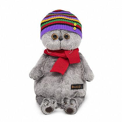 Басик в полосатой шапке с шарфом 30 см.